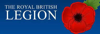 Royal British Legion Poppy Appeal blue banner with white text and a vivid red poppy to the right