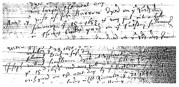Hand written document in old style writing and are rather indistinct owing to some background 'smudging' – very grainy.