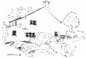 Line drawing, two storey modern looking house, box- like, single chimney with trees and bushes surrounding it.