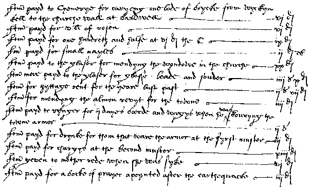 A list of 16 items written by hand, quite neatly, in old style hand-writing. Large chimneys, multiple add ons, three floors including the loft which has a window of its own, a vertical one sticking up out of the roof.