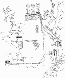 Line drawing of Green Farmhouse, home of Andrew Hawes in 1577, 'angled' view looking up at the front of the house showing 3 interesting chimneys.