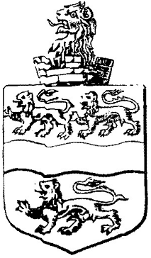 Drawing of the Hawes family coat of arms, a shield with lions head poking out of a small piece of a 'castle' tower. Has a wavy bar through it's centre with 1 lion in the bottom third and 2 more in the top third.