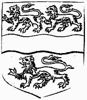 A drawing of the Hawes family shield. It has a wide wavy line through the middle with one lion shown below and two smaller versions of the same lion above. These three lions are the standard side view of the lion facing to the left, and with tail curving up and over its back.