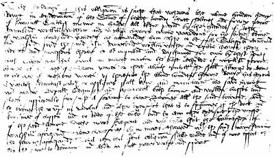 This is a handwritten sample from a page of the apprentice certificate for Henry Rowse, glover of Wymondham, Norfolk – 1st October 1587.