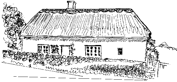 """A 'loose' style of line sketch, this one being """"Home Farm"""" home of John Hawys of West Street."""