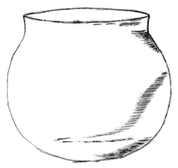 Line drawing of a rounded pot, not too dissimilar to a goldfish bowl but with a much larger/wider opening at the top.