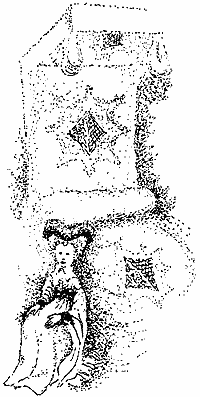 A rather indistinct drawing mainly made up of dots! A lady in a long dress with a tall heart shaped head-dress is seated in front of the royal bed.