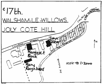 "Line drawn map, ""c17th Walsham le Willows Joly Cote Hill"" – same area of land mapped as the previous image. ""Mary Raynberd"", ""Margaret Block"" and ""John Gracer(?)"" all marking buildings indicated by solid black. Other buildings are shown not in solid black."