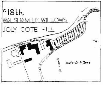 "Hand drawn map ""c18th Walsham le Willows Joly Cote Hill"" showing an area of land including about ten buildings and a bit of land surrounding them."