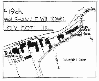 "Hand drawn map ""c19th Walsham le Willows Joly Cote Hill"" showing same area as previous map showing the eight buildings in extistance at the time."