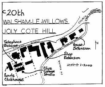 "Hand drawn map ""c20th Walsham le Willows Joly Cote Hill"" showing more buildings including the ""Telephone Exchange"", ""Bowls Clubhouse"", ""Clive Cottage Studio"", ""Shop Extension"", ""House Extension""."