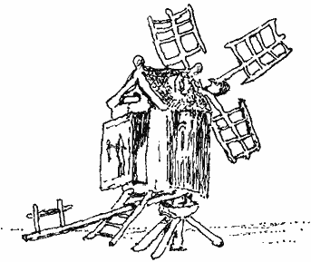 Line drawing of a primitive post mill. A very rickety looking windmill that pivots with a large wooden lever sticking out from under it to do the pivoting with.