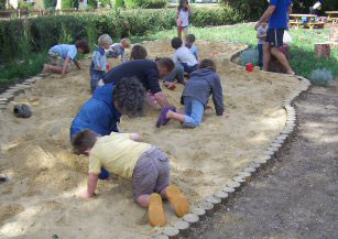 Children enjoying the new sand pit in the Walsham Play Park
