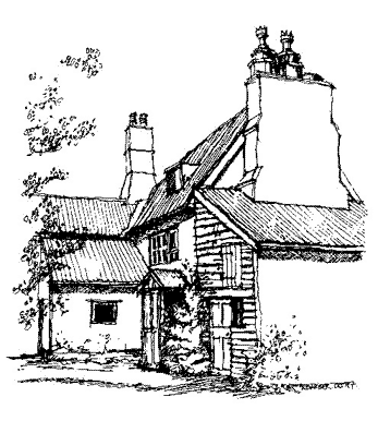 This is a line drawing of 'Dages' house viewed from the side