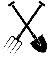 black and white graphic of crossed fork and spade