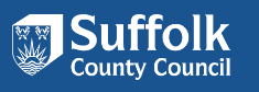 Suffolk County Council banner, white text in blue background