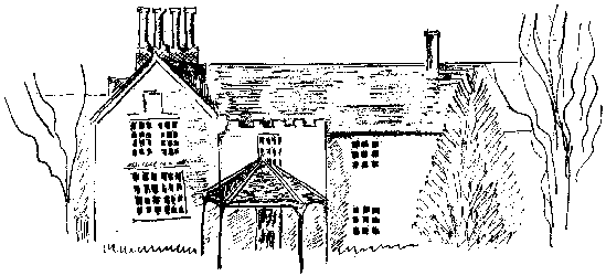 """A 'loose' styled line sketch of 'The Rookery', the home of John Hawys """"in the bushes""""."""