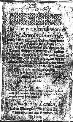 "Title page from ""The wonderfull worke of God shewed upon a chylde"" – 1581"