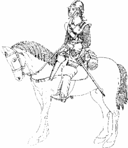 Line drawing showing a typical 17th Century Cavalryman in full dress astride a horse, wearing helmet and sword.