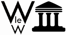 Walsham history group logo, double W one under the other with the letters 'le' nestling in between the legs of the larger W on the top and a block graphic of Romanesque columns tot he right