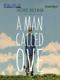 Book cover 'A Man Called Ove' showing a human figure with back to viewer against a blue cloud filled sky whcih stretched to the figure's feet suggesting he is on a hilltop