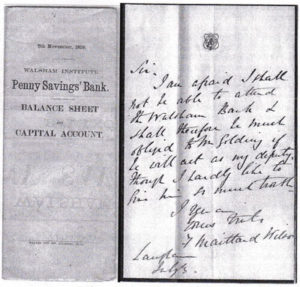 A very old copy of a balance sheet from the Penny bank.