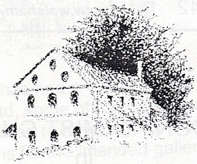 A black pen drawing of a building in front of a very large tree behind.