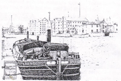 A black and white drawing of a barge heading up river with Malt Houses and Corn Mills on the opposite bank.