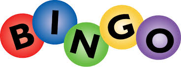 4 balls, red, blue, green, yellow and purple each with a letter spelling out the word BINGO