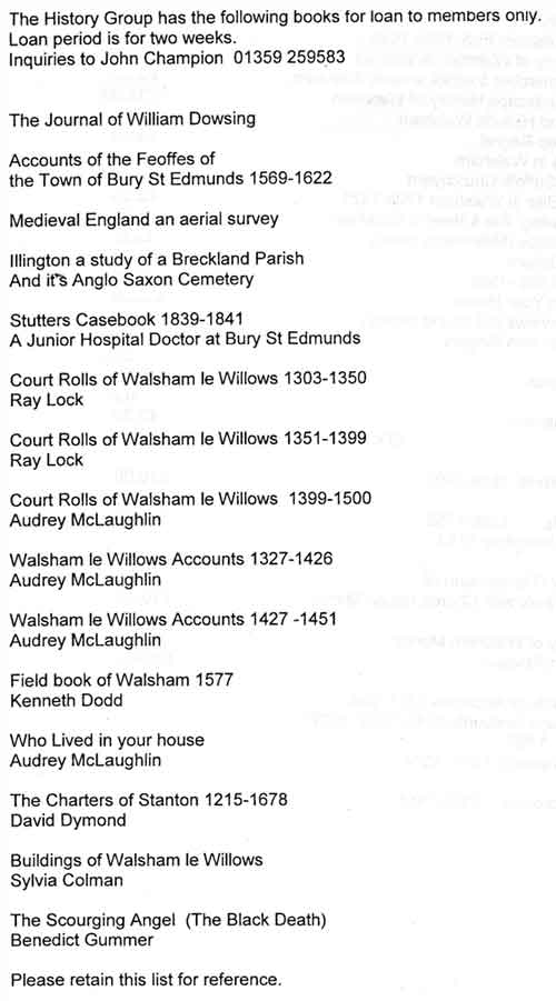 A printed list of various books available for loan to History Group members.