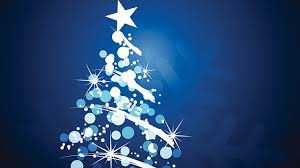 christmas tree against blue background with blue and white baubles and lights