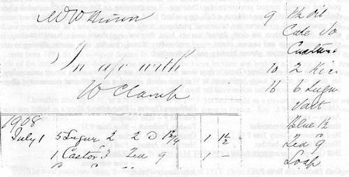Handwritten in black ink, a small household account of Grocer & Draper, William Clamp