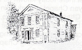 A black pen drawing of a building with a tree behind it to the left.