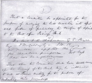 Handwritten note of the proposal to wind up the business of the Walsham Institute Penny Savings Bank