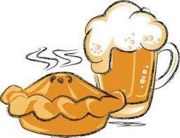 clip art drawing of a pie and a pint of ale overflowing with a frothy head