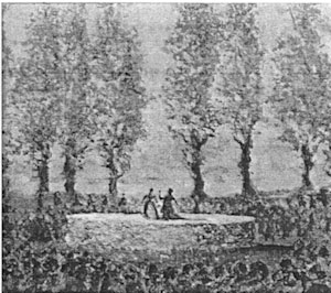 An old grey photograph of a flat round stage with two figures standing on it and with poplar trees in the background.