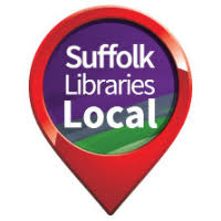 suffolk local libraries logo a red circle with point to the base inside which are the words Suffolk Libraries Local on a purple and green background