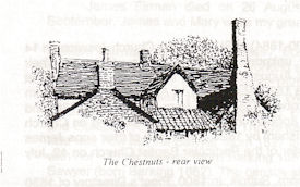 Black pen drawing of the rear view of chestnuts cottage, showing mainly the various roofs