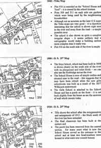 Three maps of the School House Yard including a Tithe map and two Ordnance Survey maps with descriptions.
