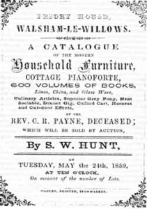 A reproduction of an old poster advertising a sale of household furniture in Walsham in a Victorian style.