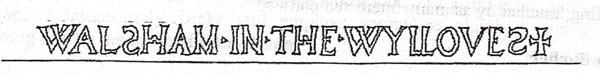 a black and white pen drawing of the words WALSHAM IN THE WILLOWS with the letters being drawn as just outlines!