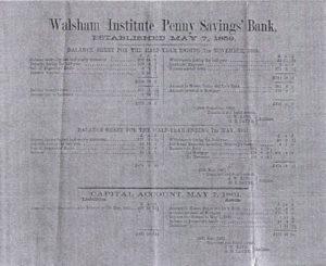 Walsham Institute Penny Savings Bank Balance Sheet Half Year Ending 7th November 1860