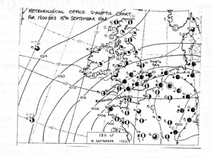A hand drawn map of the UK showing isobars as at 18:00 hours on 15th September 1968