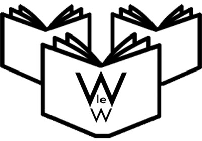 Black and white line drawing of three open books standing with covers facing viewer. The middle book cover displays the Walsham-le-Willows logo