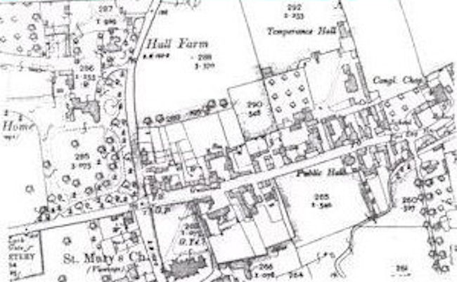 A black and white map of Walsham circa 1904.