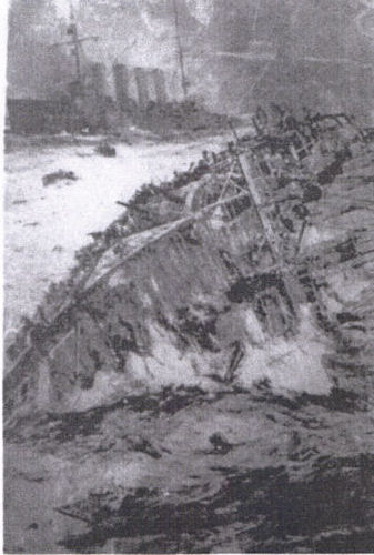 A black and white painting of the sinking of a ship.