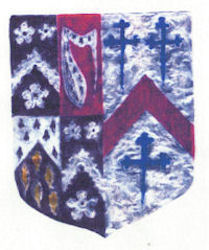 A colourful heraldic shield mainly of blue and red design.