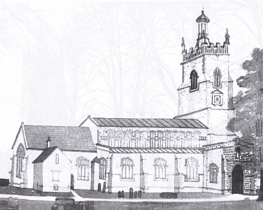 Copy of a black and white photo showing a previous structure of St Mary's Church Walsham le Willows