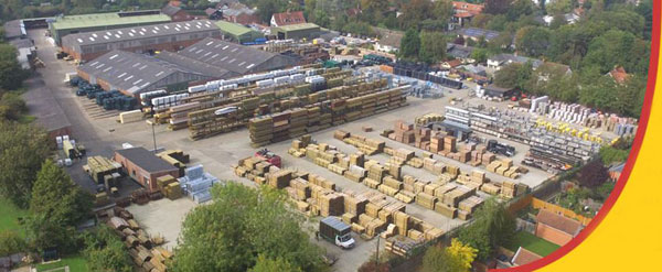 Clarkes of Walsham, aerial view of yard from the east