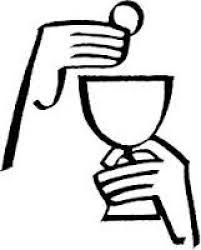 line drawing of two hands eucharist cup in one offering in the other